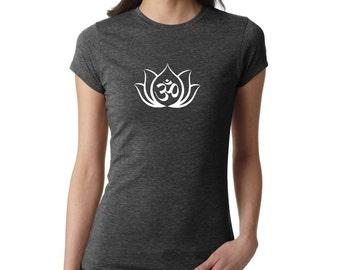 Yoga Shirt, OM Lotus shirt, Yoga Top, Lotus, Yoga Tank, Om Shirt, Namaste Shirt, Meditation Shirt, Ladies Shirt, fitness shirt, #LS30