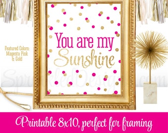 You Are My Sunshine - Printable Baby Girl Nursery Room Decorations Wall Art Birthday Sign - Magenta Bright Pink Gold Glitter - Big One