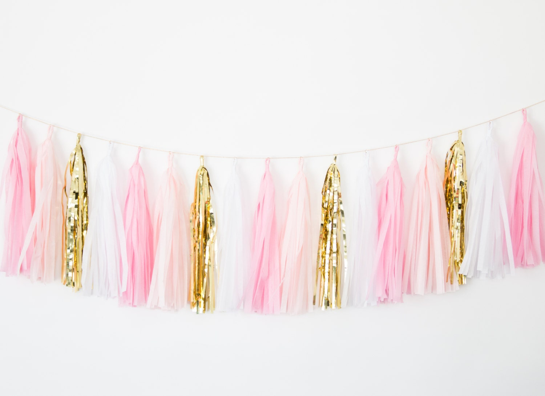 Pink Blush And Gold Tassel Garland Party Decor Birthday