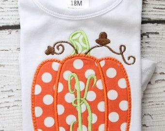 Monogrammed Pumpkin Shirt, Polka Dot Pumpkin Onesie