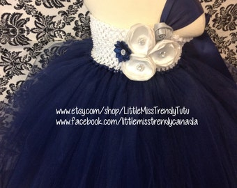 One Shoulder Navy Blue Tutu Dress, Navy Flower Girl Tutu Dress, One Shoulder Flower Girl Dress, Navy Tutu Dress, Navy Blue Tutu Dress