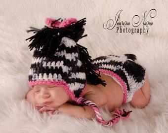 Zebra hat and diaper cover- Photography Prop - Newborn Prop-Handmade Baby Shower Gift
