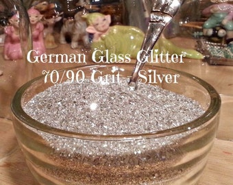 Silver German Glass Glitter 1/2 oz 70 / 90 Grit with Shaker Jar
