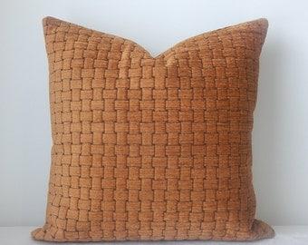 Pala /papaya,upholstery weight designer fabric pillow cover,18x18-19x19,decorative pillow accent pillow,same fabric front and back