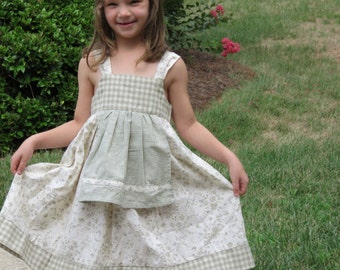 Girls Dress with attached Pinafore