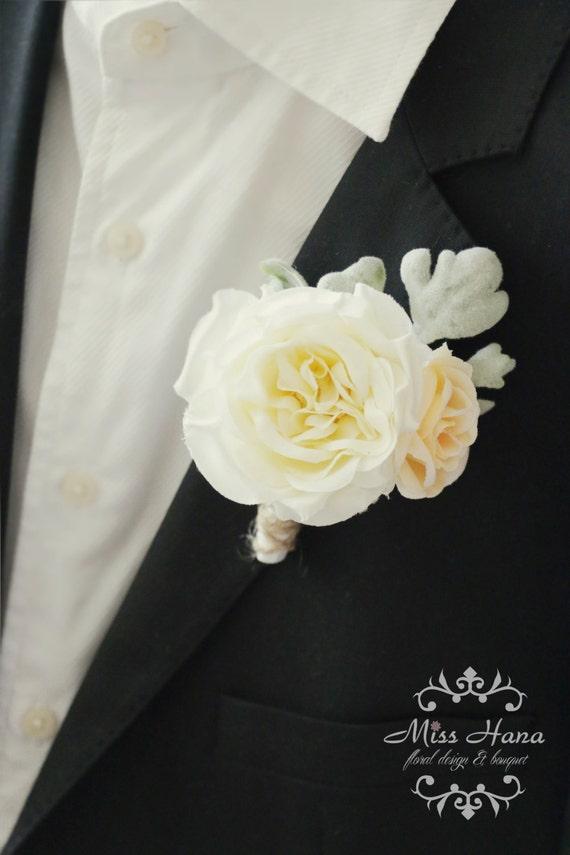 Elegant Garden Rose Boutonniere