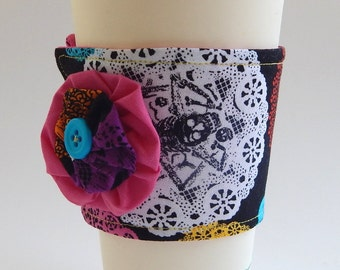 Coffee Cup Cozy / Skulls / Skull Cup Cozy / Drink Sleeve / Lace / Halloween Cup Cozy / Re-Usable Cup Sleeve / Fabric Cup Cozy