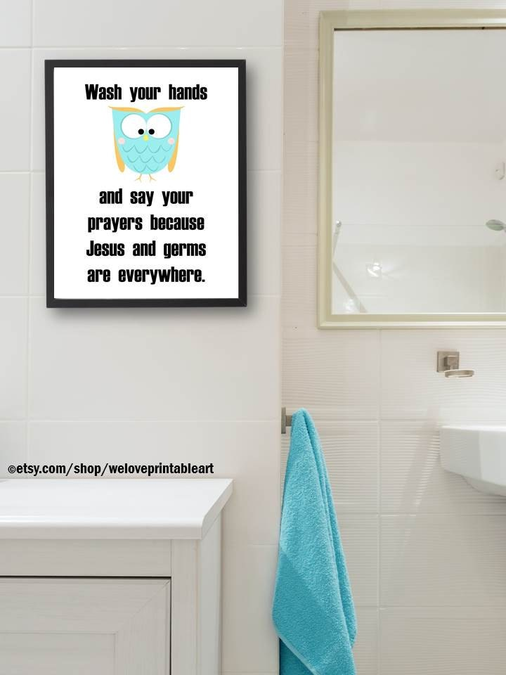 Owls Bathroom Kids Bathroom Decor Wash Your Hands Say Your
