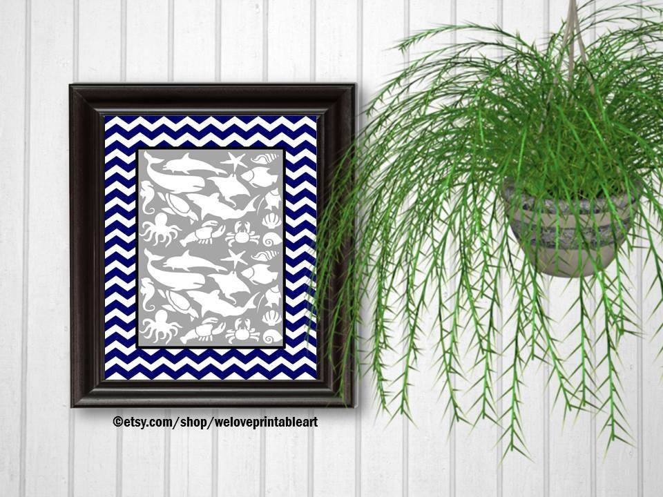 Navy and white chevron whales bathroom decor fish bathroom for Navy and white bathroom accessories