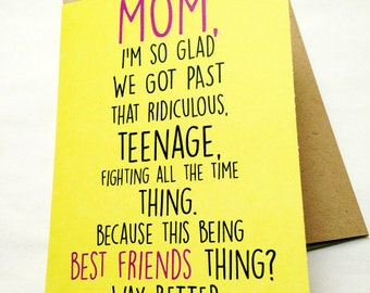 mom card mother's day card mom birthday card funny, Birthday card