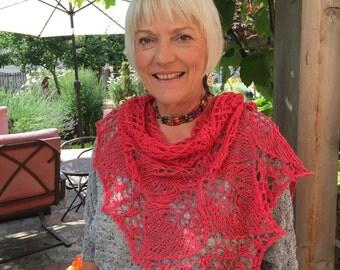 watermelon pink shawl, cotton/linen