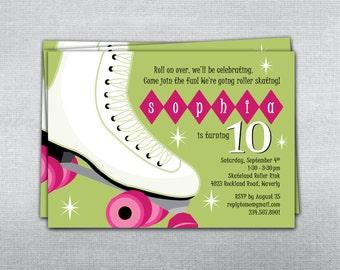 Rollerskating birthday invitation. Skating party invitation. Rollerskate invitation.