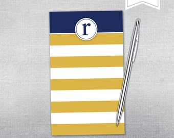 Personalized notepad. Nautical initial notepad. Teacher gift notepad.