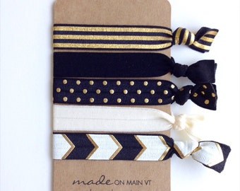 Elastic Hair Ties Gift Set, Black and Gold | Made on Main VT