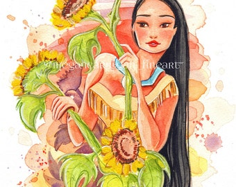 "Pocahontas 4x6"" Fine Art Quality Print on Lustre Paper"