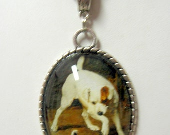 SALE - 50% off - Terrier with kitten pendant with chain - DAP09-112