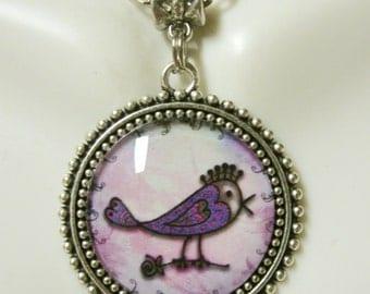 Artsy bird pendant with chain - BAP26-004