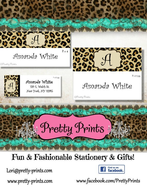 Leopard Print Stickers, School Labels, Back to School, Leopard Print, Personalized Stickers, Personalized Labels, Cheetah Labels, Tags