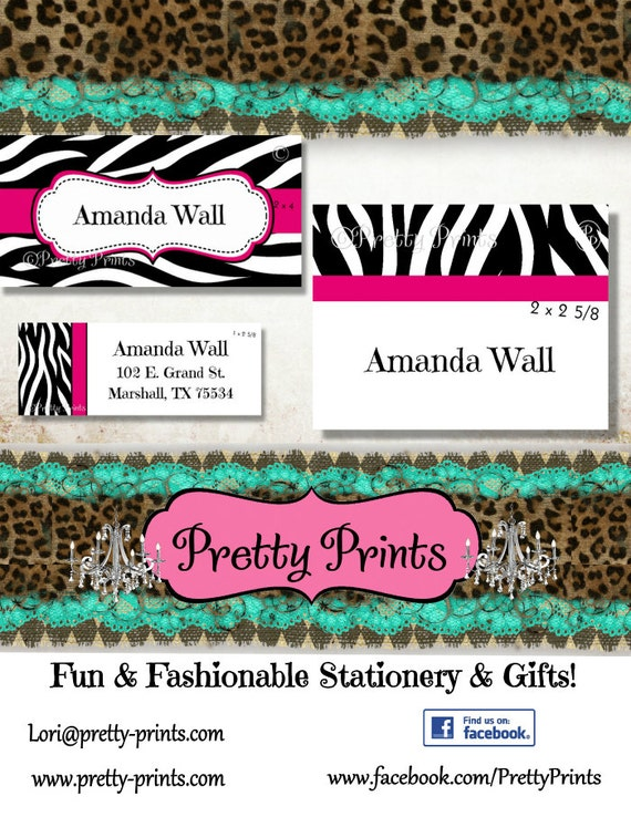 Zebra Print Labels - School Labels - Zebra - Pink - Animal Print - Personalized Stickers - Labels - Custom Labels - Personalized Labels