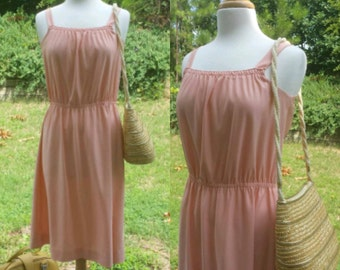 Vintage 1980s peach summer dress