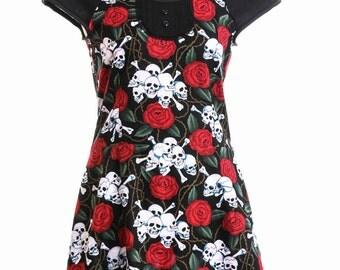 Skulls and Roses with lace bib Goth/Punk/Rockabilly/Lolita dress size M