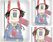 HANDMADE Primitive Folk Art Patriotic Raggedy Ann Doll Doll Hanger Decor  by FosterChildWhimsy