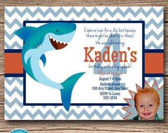 Shark Chevron Birthday Party Photo Invitation, Printable Shark Birthday Invite, DIY, Digital, Personalized, Cute Shark, First Birthday