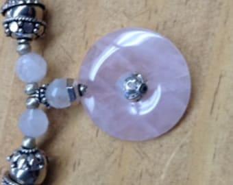 Regal Rose Quartz and Silver Bead Cap Necklace