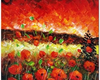 Blooming Red Poppies - Signed Hand Painted Impressionist Flower Painting On Canvas Fine Art CERTIFICATE INCLUDED