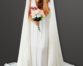 "72"" Classic Long Cloak with Train Ivory w/Ivory Lace Trim"