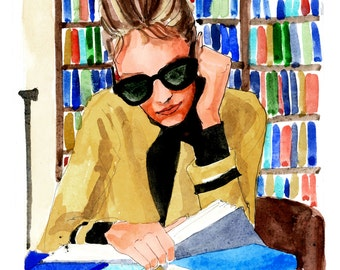 Library Holly Golightly {Breakfast at Tiffany's, Holly Golightly, Audrey Hepburn} Fashion Illustration Art Print