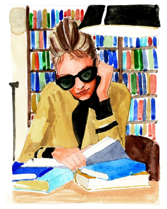 Library Holly Golightly {Breakfast at Tiffany's, Holly Golightly, Audrey Hepburn} Fashion Illustration Art Print
