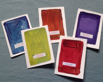 Hand Painted cards w/Fortune - Set of 5