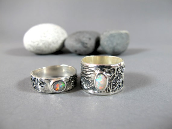 REAL Opal Wedding Ring Set Womans Ring Bridal by MattiuzJewelry