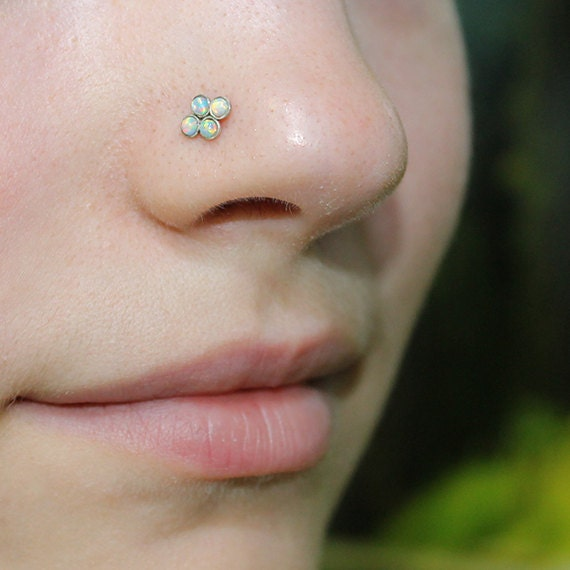 Silver Nose Stud 2mm Opal - Nose Ring - Nose Screw - Tragus Piercing - 16g Cartilage Hoop Earring - Forward Helix Earring - Stud Nose Ring