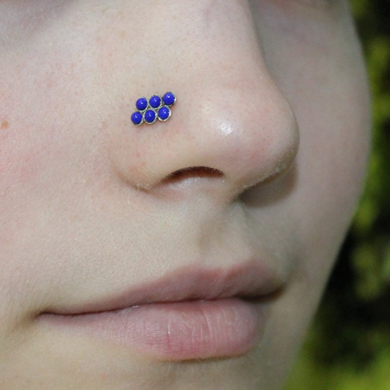 2mm Lapis Nose Stud - Silver Nose Ring Stud - Rook Earring - Cartilage Stud - Tragus Stud - Nose Screw - Helix Stud - Nose Piercing 20g