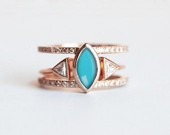 Turquoise Diamond Ring, Turquoise Engagement Ring, Turquoise Wedding Set, Bohemian Ring, Gold Turquoise Ring, Diamond Wedding Set