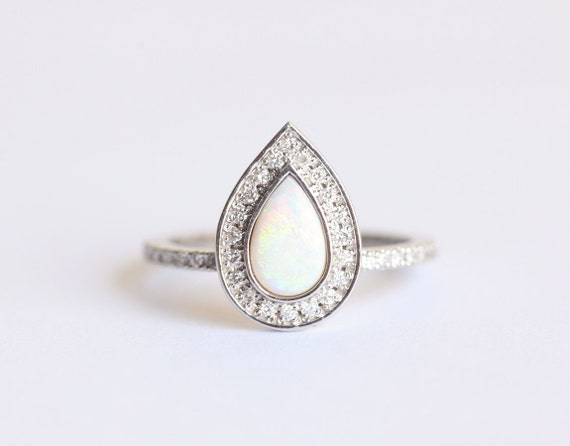 Opal Engagement Ring Opal Halo Diamond Ring Pear Halo