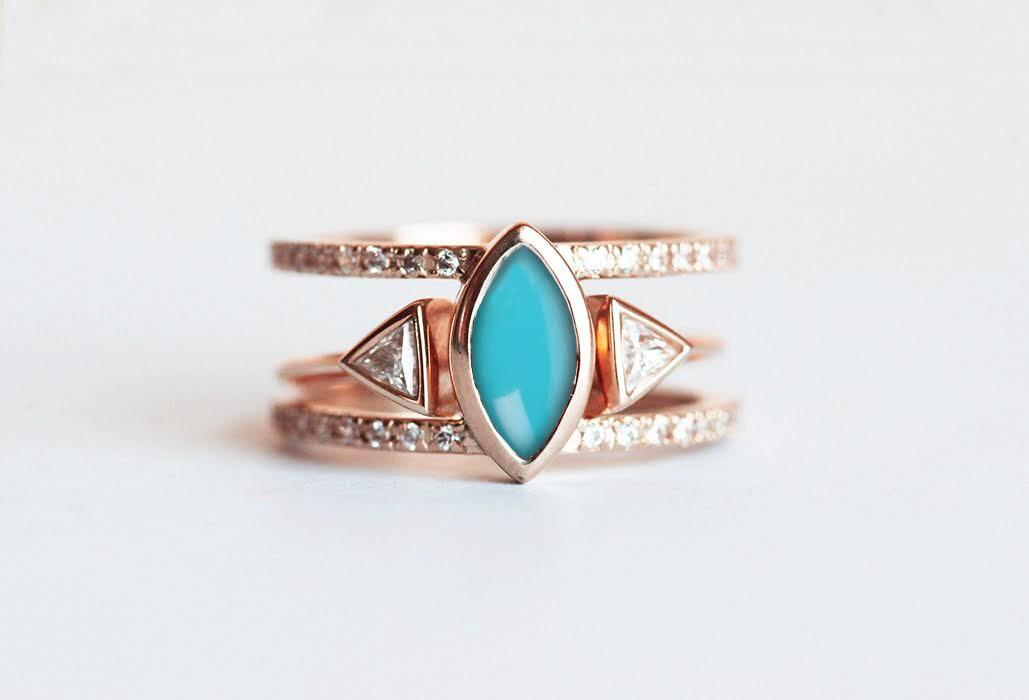 turquoise wedding set bohemian ring gold zoom - Bohemian Wedding Rings
