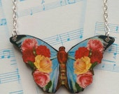 Beautiful Butterfly necklace. Floral butterfly statement necklace. Large butterfly and flower folk nature festival jewellery