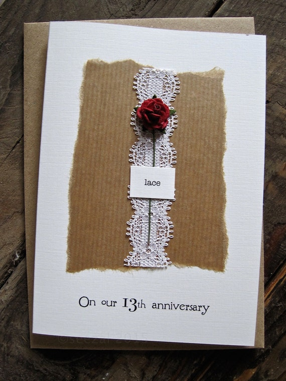 13th Wedding Anniversary Gift For Husband : 13th Anniversary Keepsake Card LACE. Lace with a Single Red