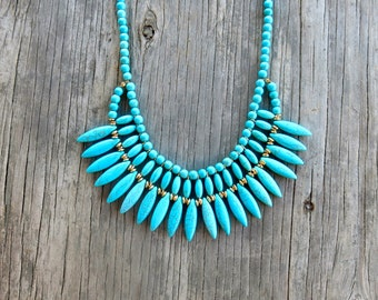 SALE- Necklace, Turquoise Necklace, Navajo Turquoise Necklace, Turquoise Statement Necklace, Bohemian Necklace
