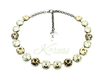 BEIGE NEUTRALS 14mm Crystal Rivoli Choker Made With Swarovski Elements *Pick Your Finish *Karnas Design Studio *Free Shipping