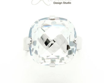 CRYSTAL SILVER 16mm Classical Crystal Adjustable Ring Swarovski Elements *Pick Your Finish *Karnas Design Studio *Free Shipping*
