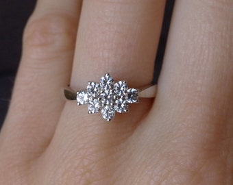 Flower Diamond Cluster Engagement Ring in 18k White Gold