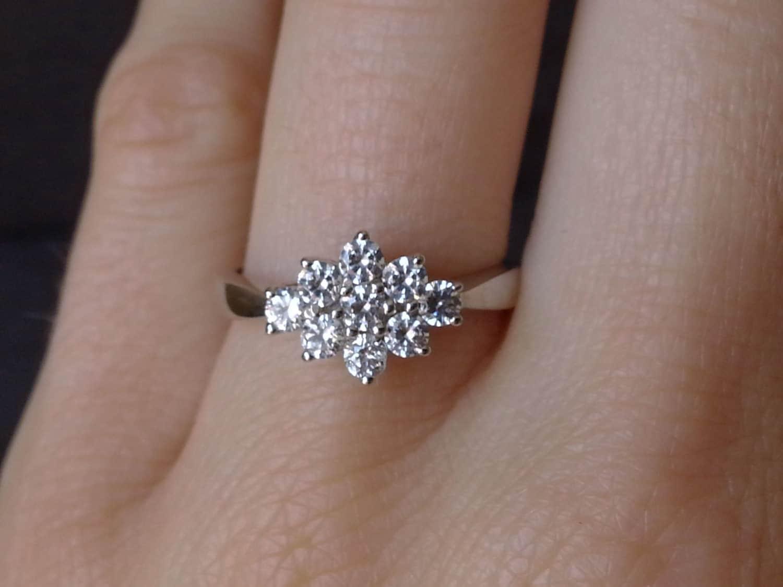Flower Diamond Cluster Engagement Ring in 18k White by ArahJames