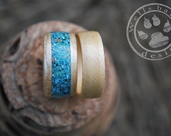 Wood Wedding Bands - Wedding Ring Sets - White Oak Wood Rings - Wood Ring - Bentwood Ring - Teal Rings - Wooden Rings - Wood Engagement Ring