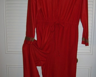 Vintage Bright Red Jumpsuit by Danville , Size 12 Zip it up and GO ! Fun, exciting find.