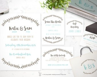Printable Wedding Invitation Suite - Customizable Wedding Invites - DIY Wedding Invitation Set