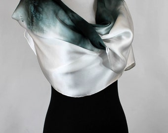 "Hand painted silk scarf, Black Ombre abstract, elegant Silk Satin 14""x72"", OOAK and ready to ship"